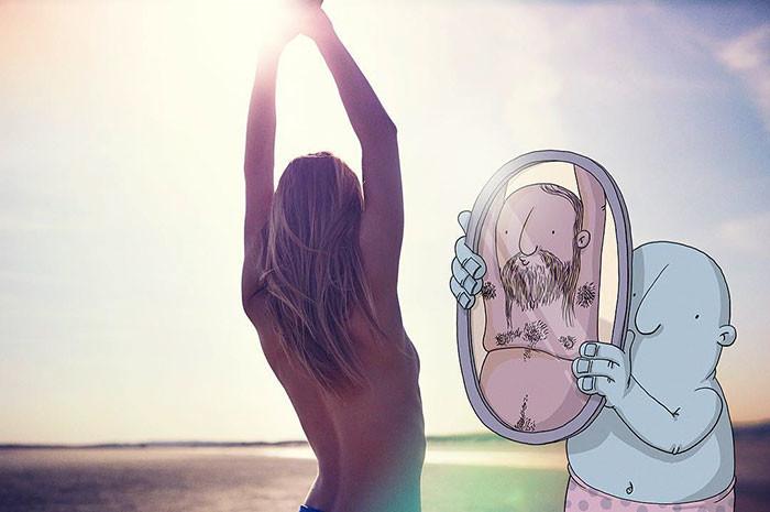 Художник любит рисовать на фотографиях, делая снимки интереснее